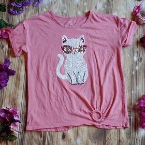 Place girls xxl 16 pink sequin cat t shirt